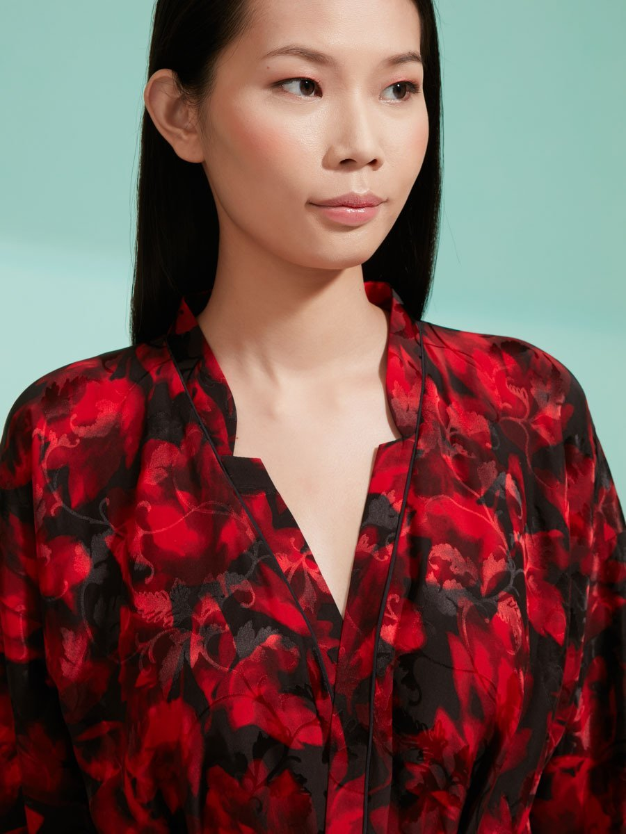 Rose Silk Long Kimono