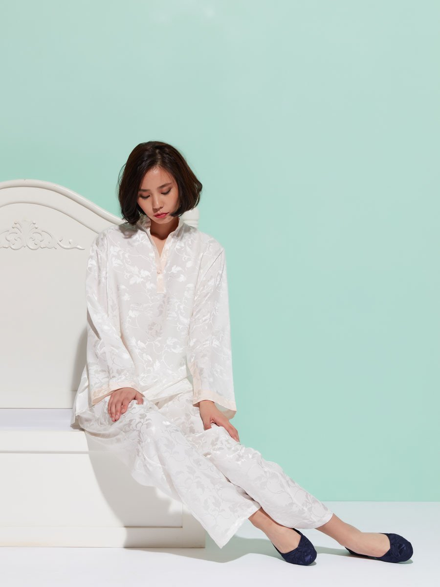 Leaves Silk Pajama Set