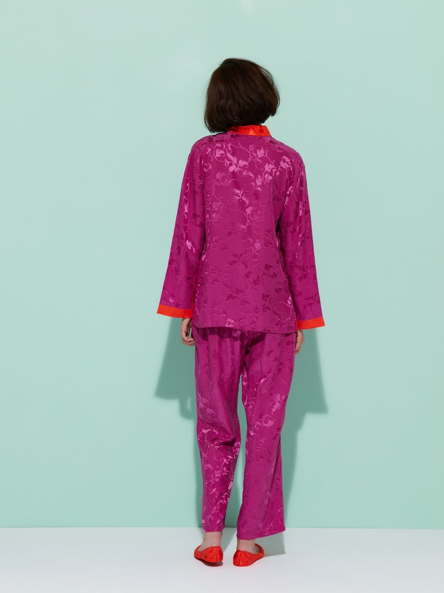 Leaves Silk Pajama Set