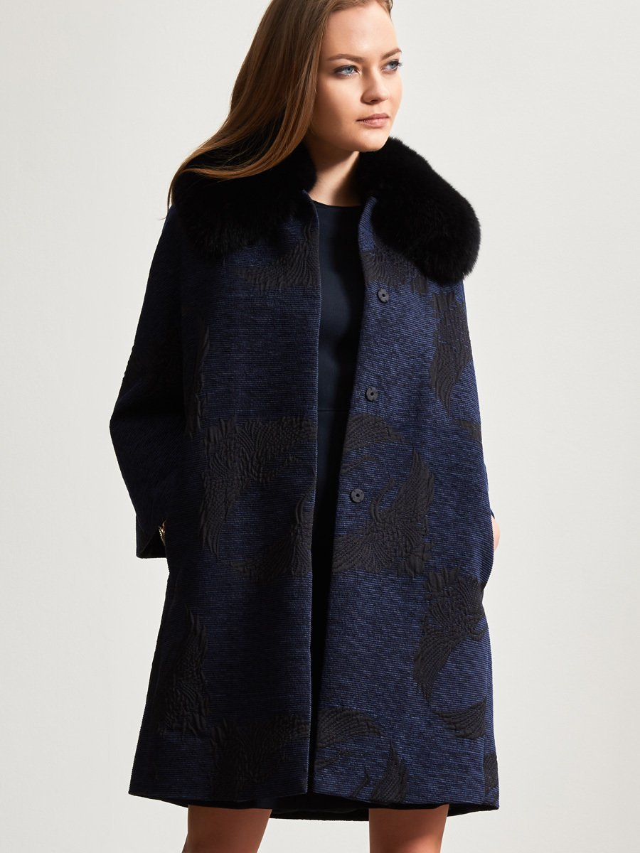 Crane Jacquard Coat with Fur Collar