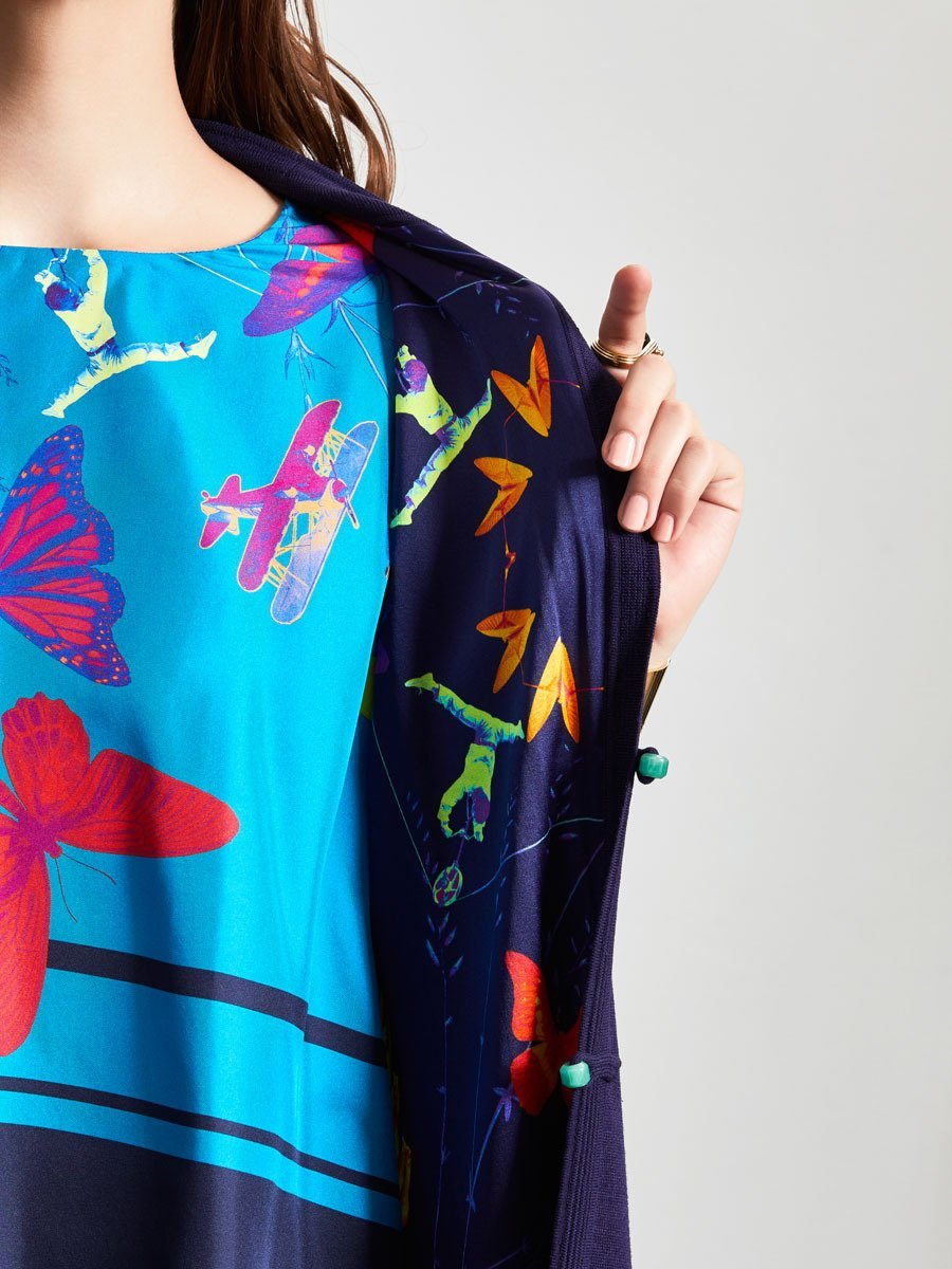 Silk-Cotton Jacky Tsai Capsule Print Lined Long Cardigan