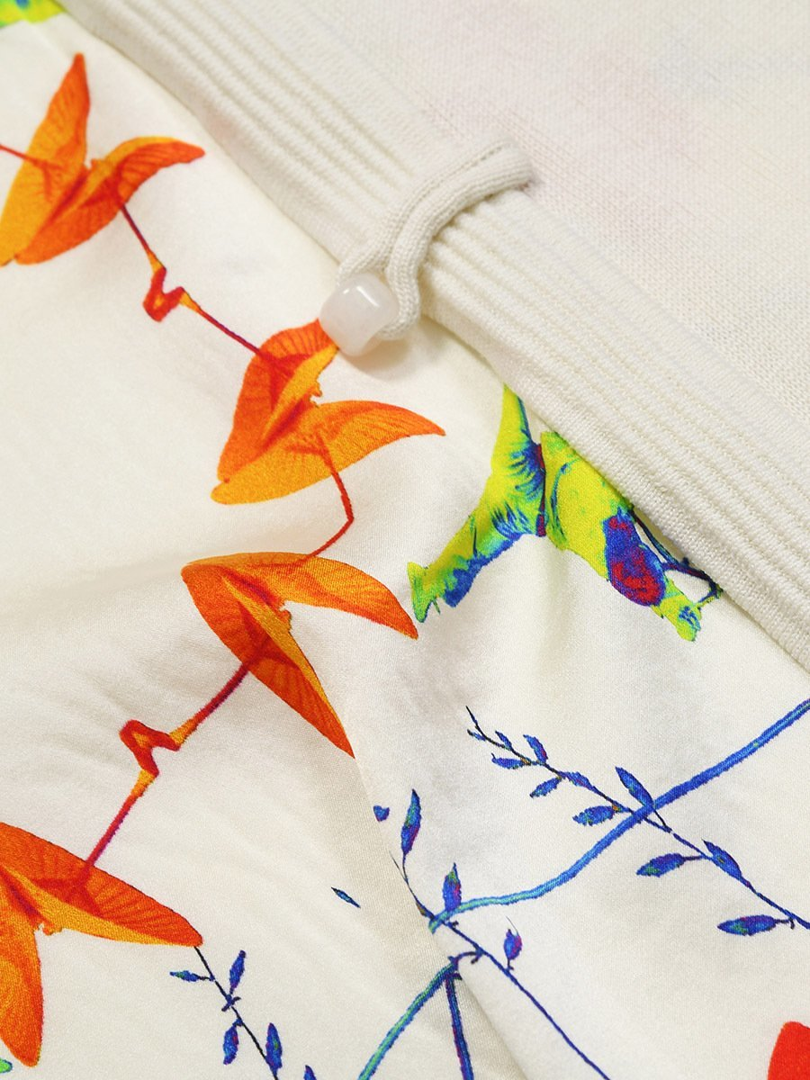 Silk-Cotton Jacky Tsai Capsule Print Lined Long Cardigan