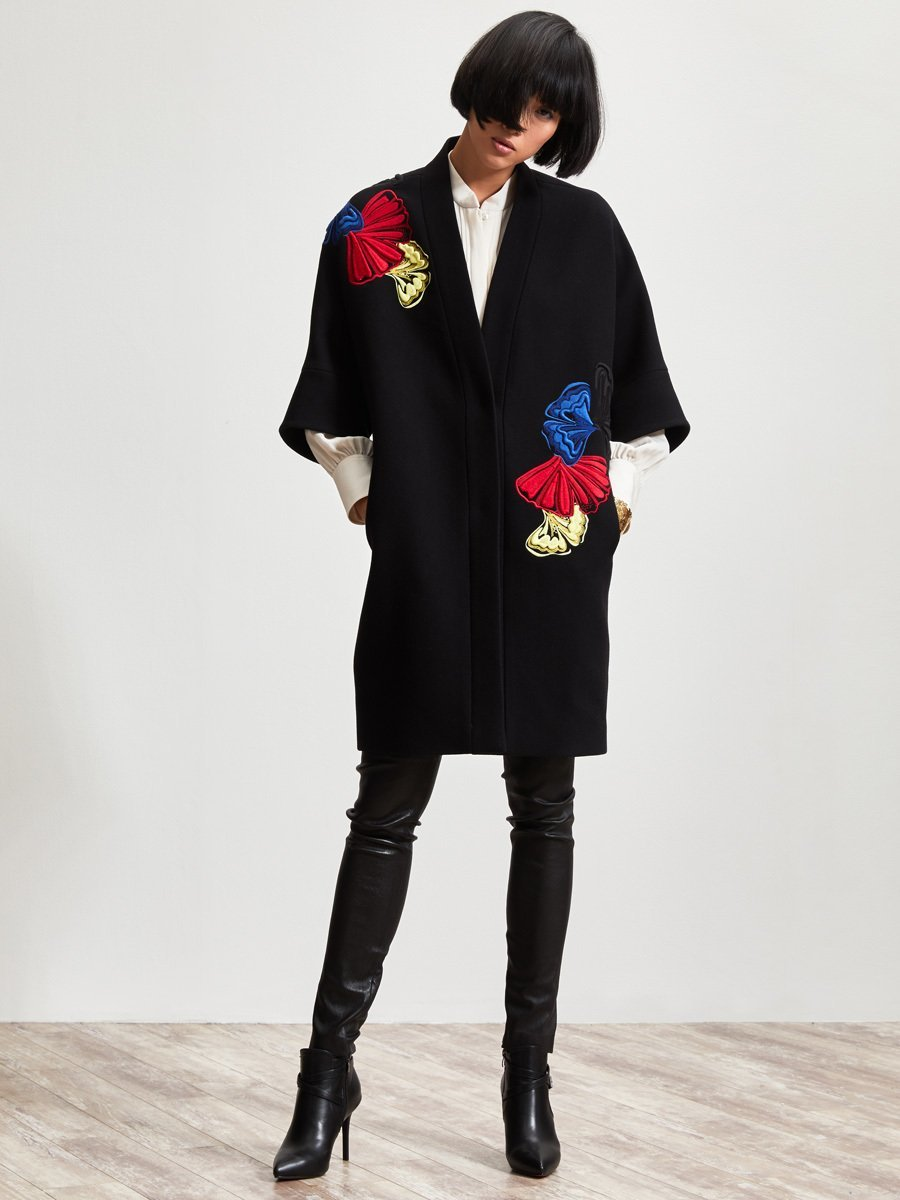 Wool Blend Coat With Embellishment