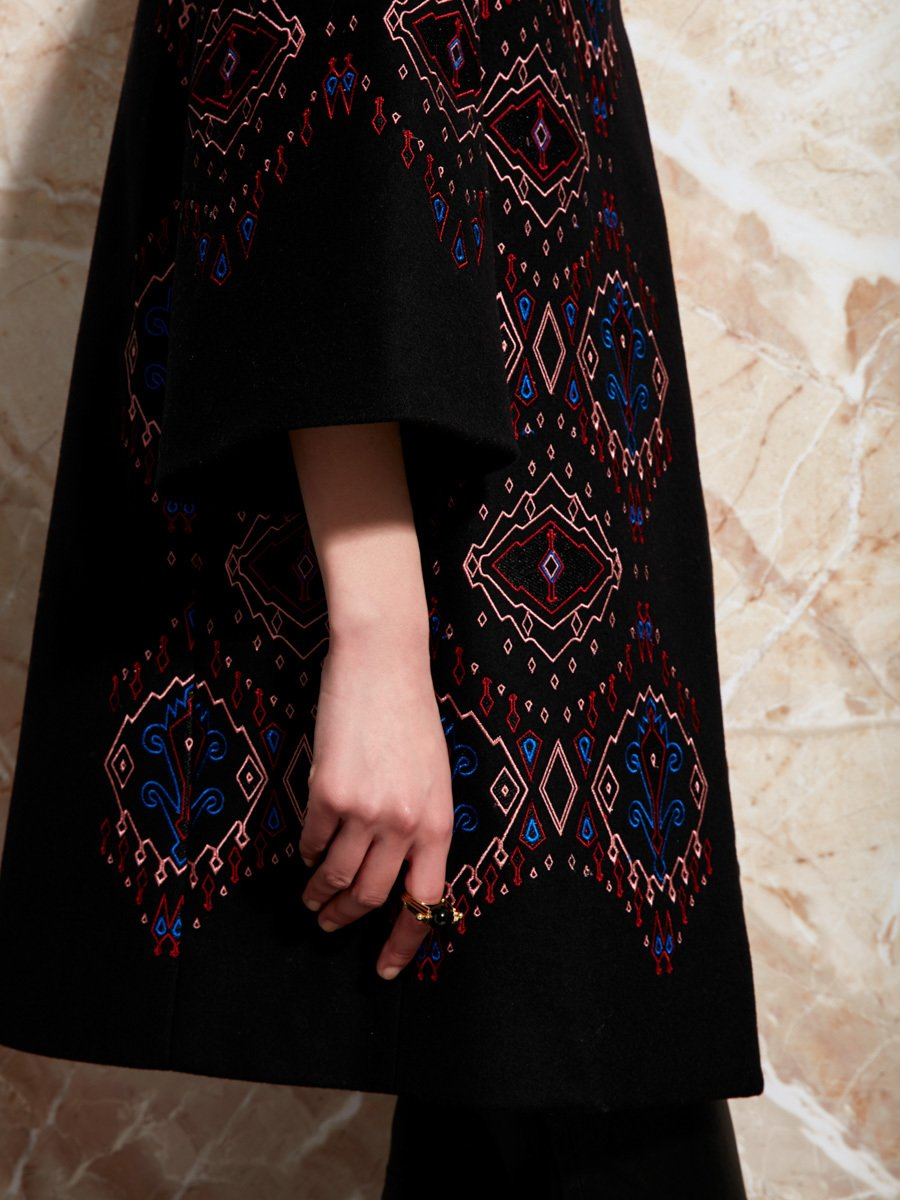 Neon Ikat Embroidery Wool-Cashmere Coat