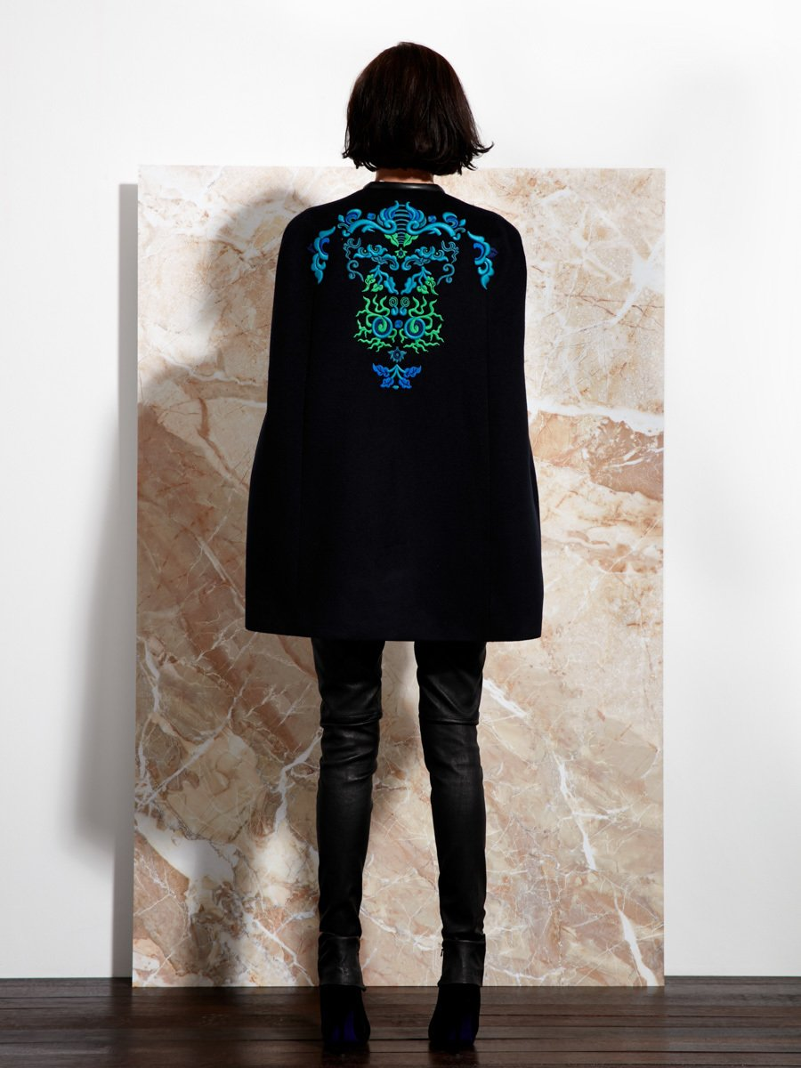 Cashmere Cape with Lotus Ornament Embroidery