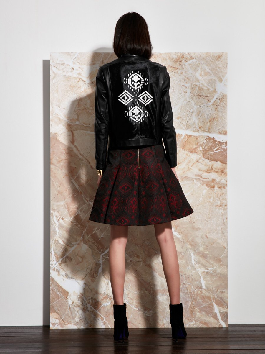Calf Hair Biker Jacket with Leather Embroidery