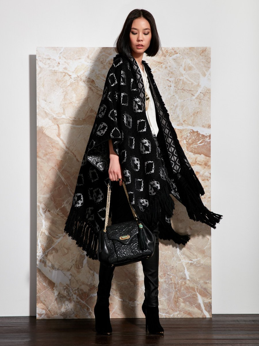Ikat Jacquard Poncho with Embroidery