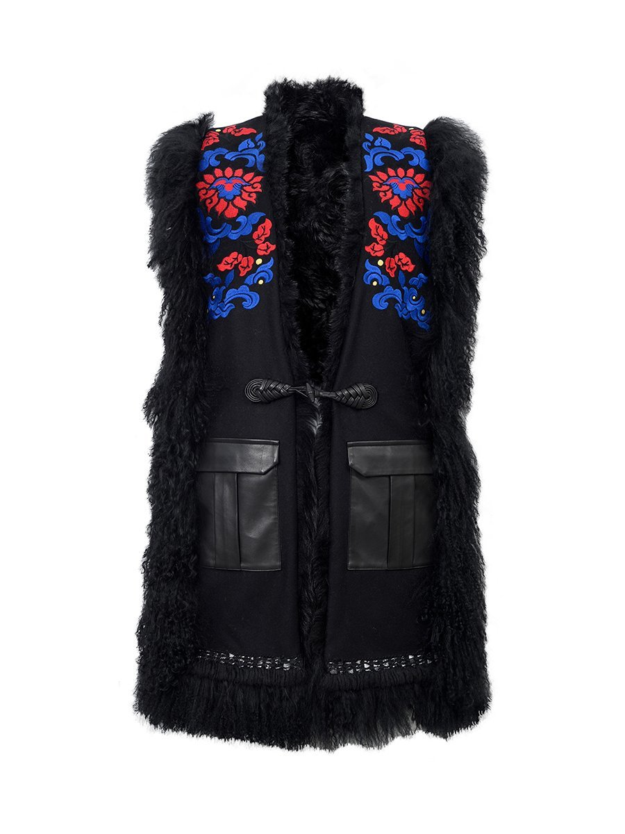 Wool Blend Vest with Curly Shearling and Embroidery