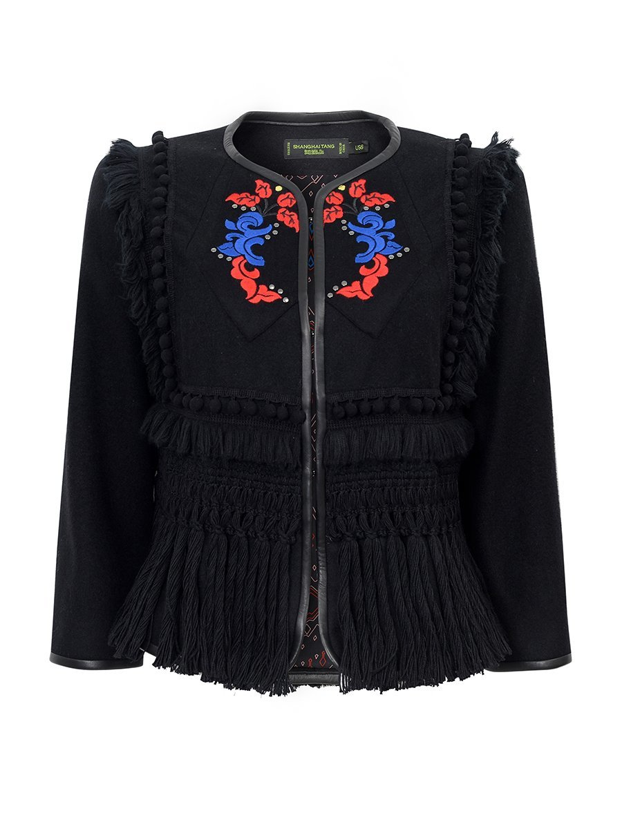 Wool Blend Embroidered Jacket with Fringes
