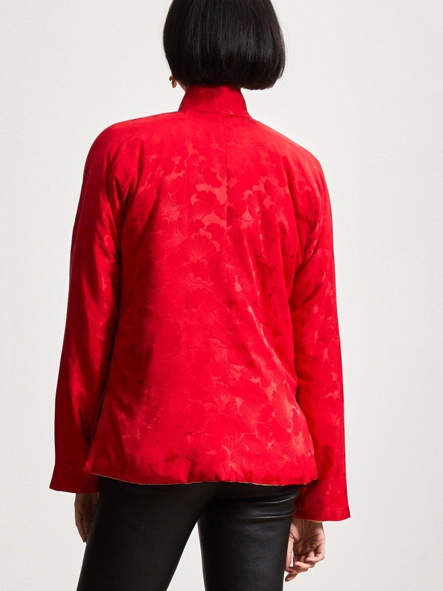 Silk Ginkgo Jacquard Reversible Meinlap Jacket
