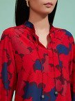 Ginkgo Print Flare Blouse