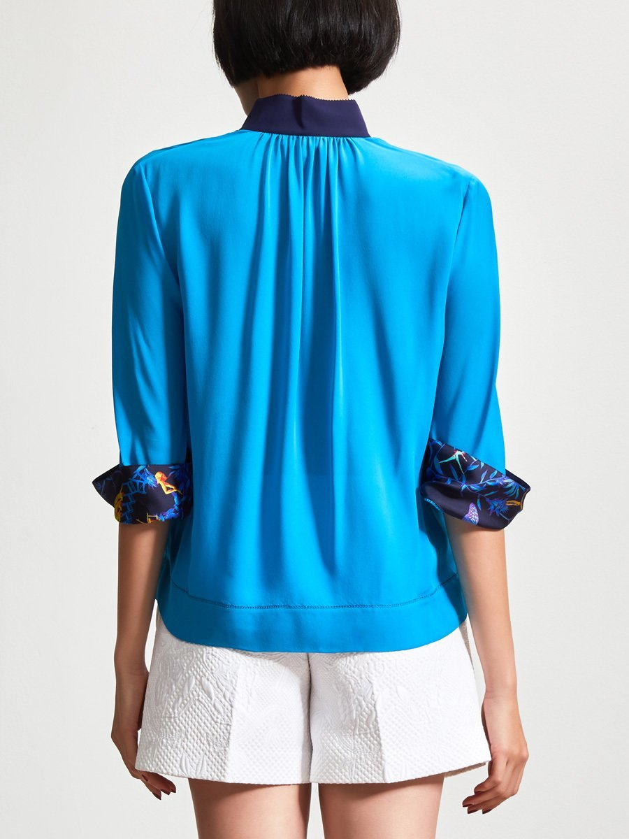 3/4 Sleeve Blouse with Trim