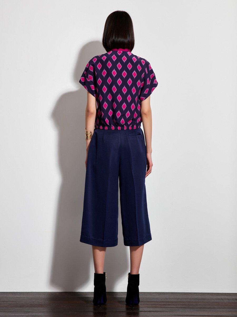Jewel Ikat Print Silk Crepe Top