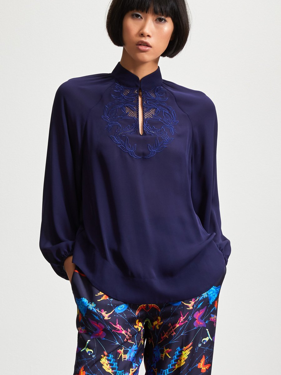 Flare Blouse with Embroidery