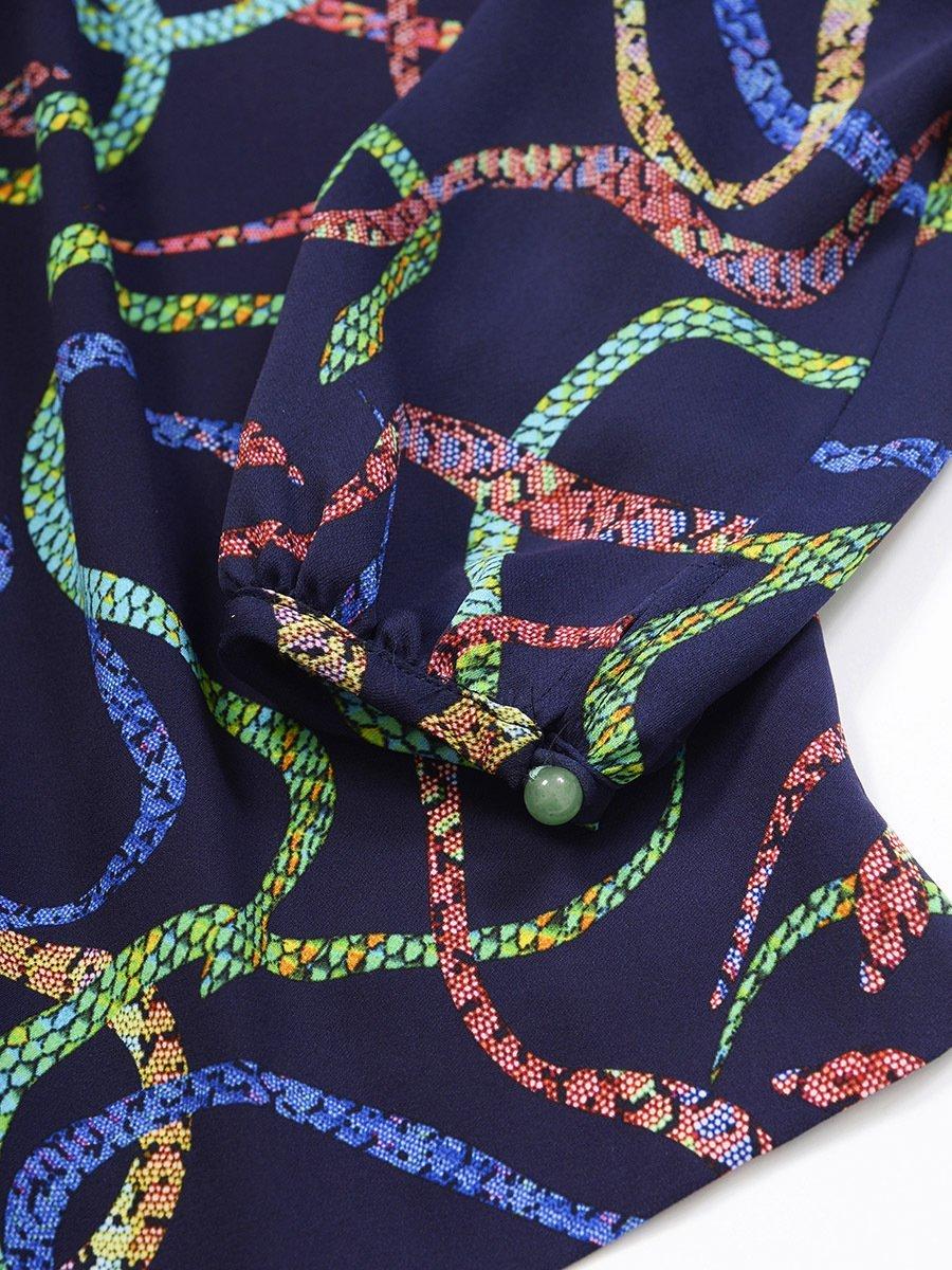 Silk Snake Print Blouse
