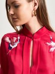 Silk Blouse with Crane Embroidery