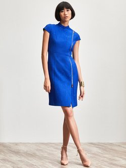 Quilted Jacquard Qipao Dress