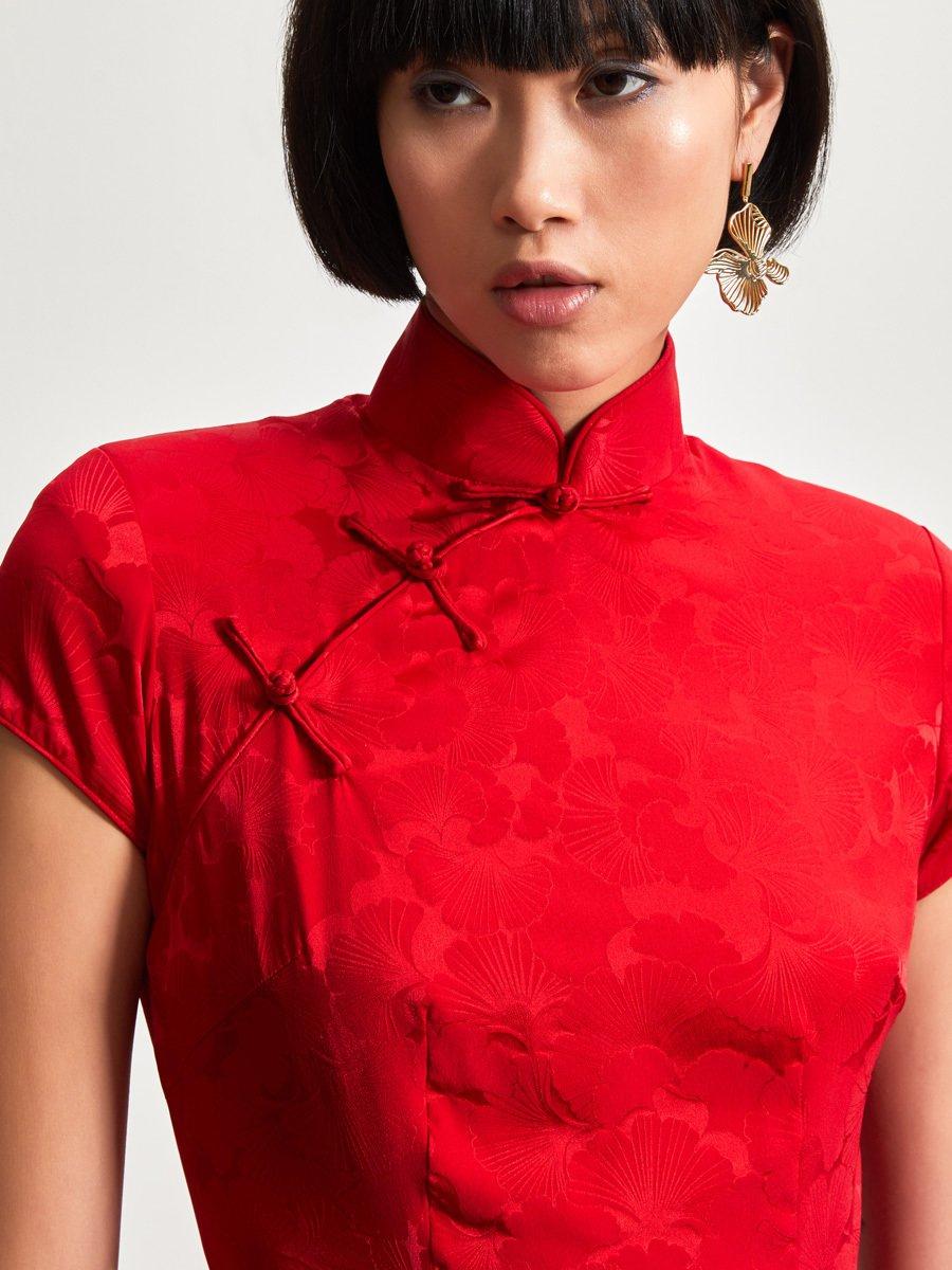 Silk Spandex Ginkgo Jacquared Qipao