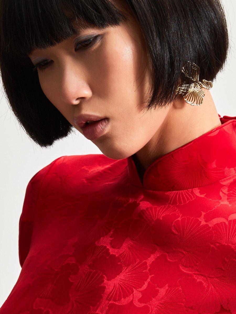 Ginkgo Jacquard Silk Spandex Mini Qipao