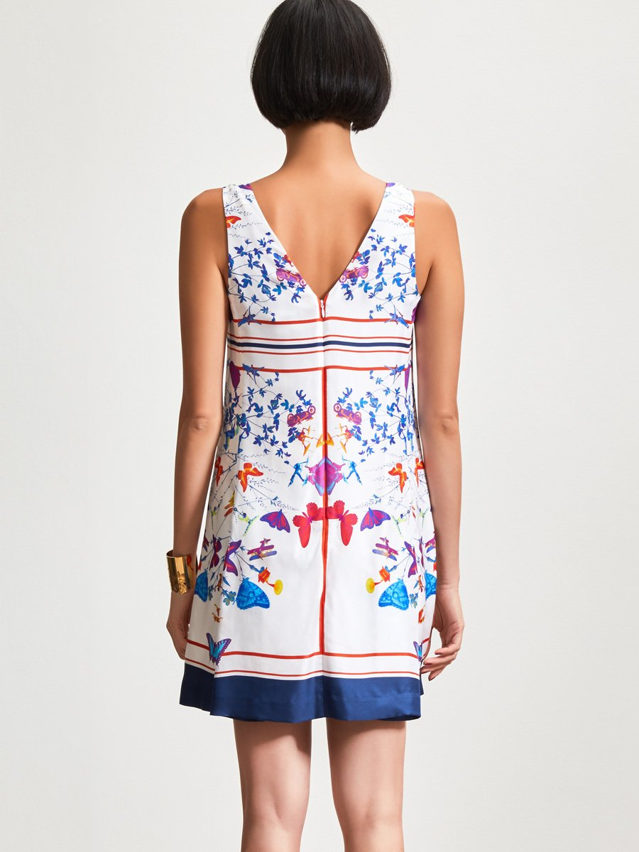 Jacky Tsai Print Sleeveless Silk Dress