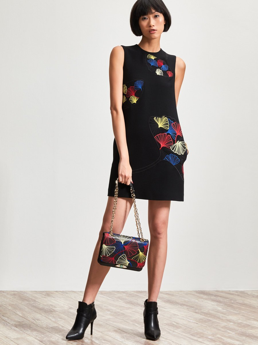 Wool Blend Dress with Ginkgo Embroidery