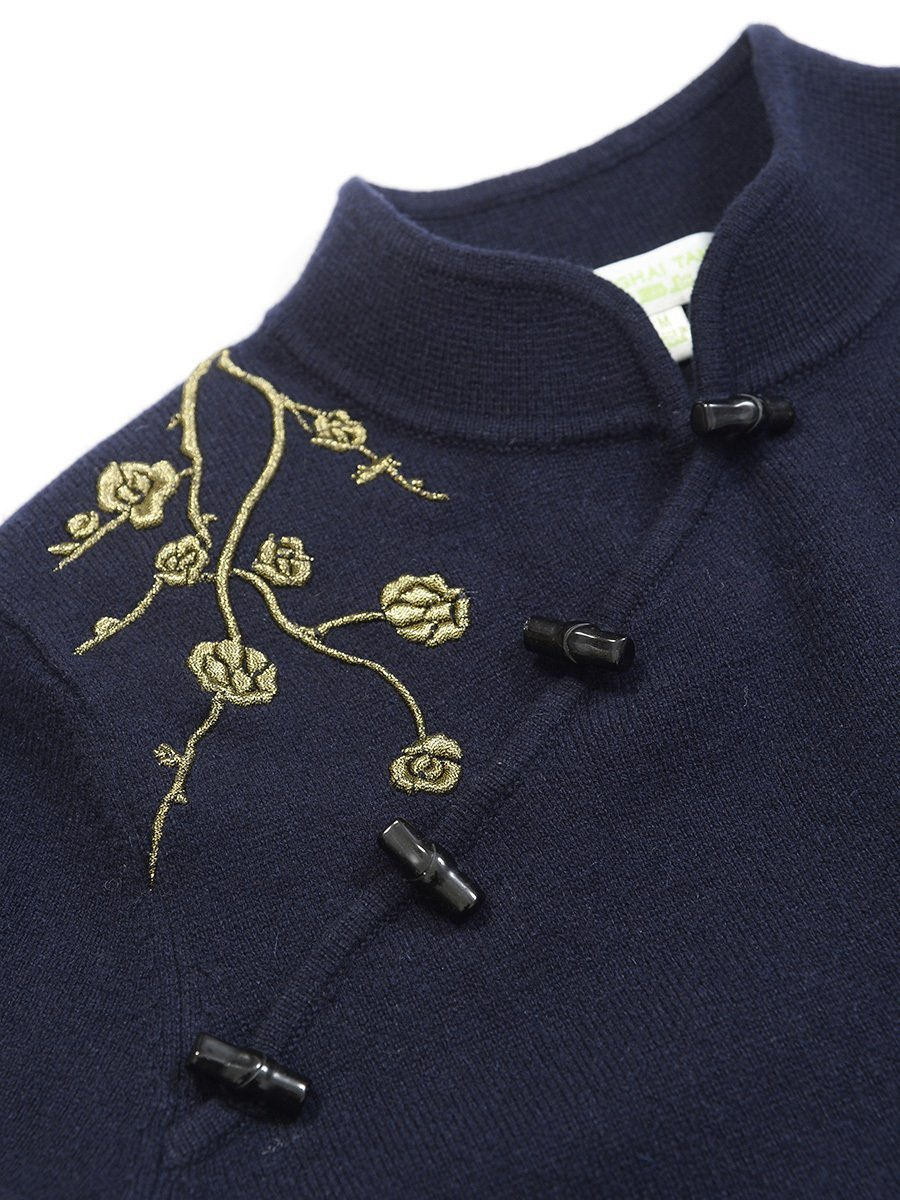 Cashmere-Silk 3D Crane Embroidery Dress