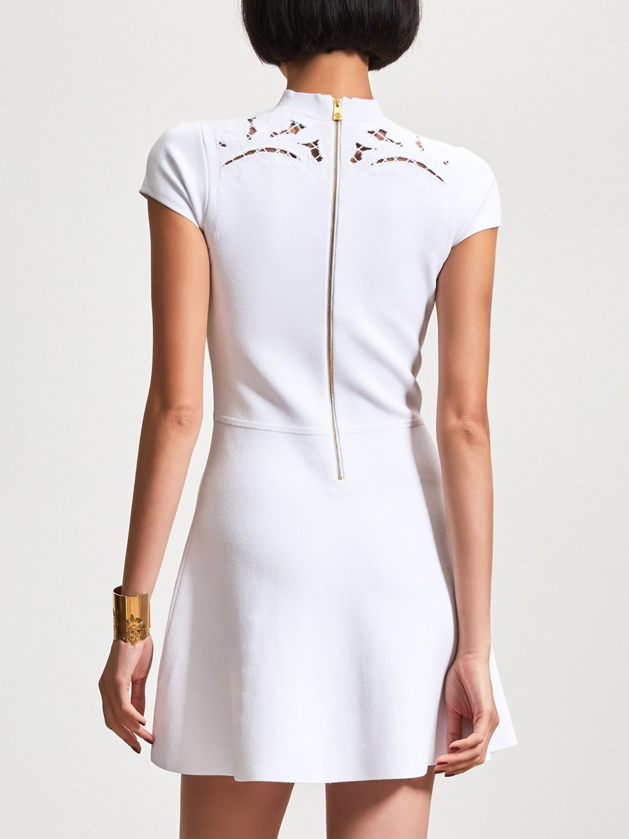 Rayon Embroidery Cut Out Short Sleeve Dress