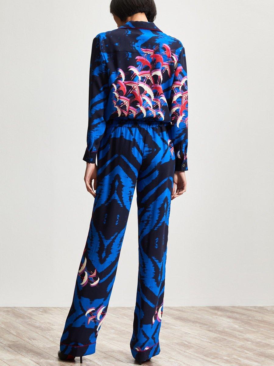 Silk Crane Print Jumpsuit