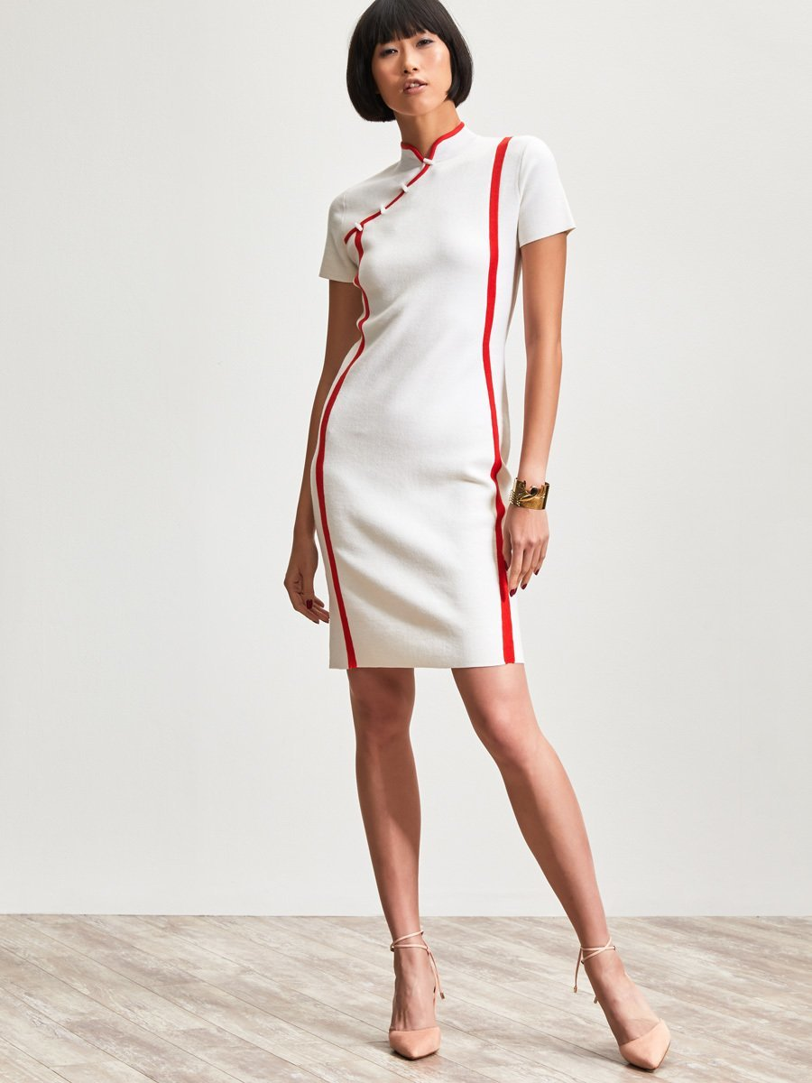 Wool Contrast Strap Short Sleeve Qipao Dress