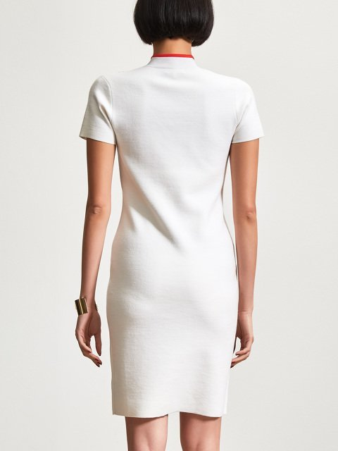 Wool Contrast Strap Short Sleeve Qipao Dress