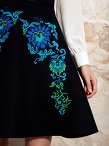 Trompe - L'Oeil Silk Dress with Lotus Ornament Embroidery