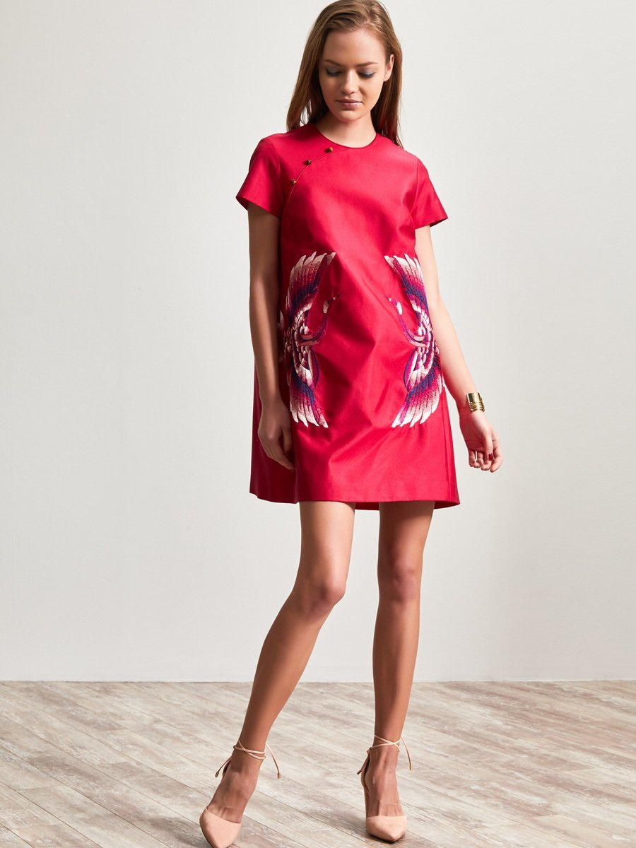 Silk Cotton Dress with Crane Embroidery