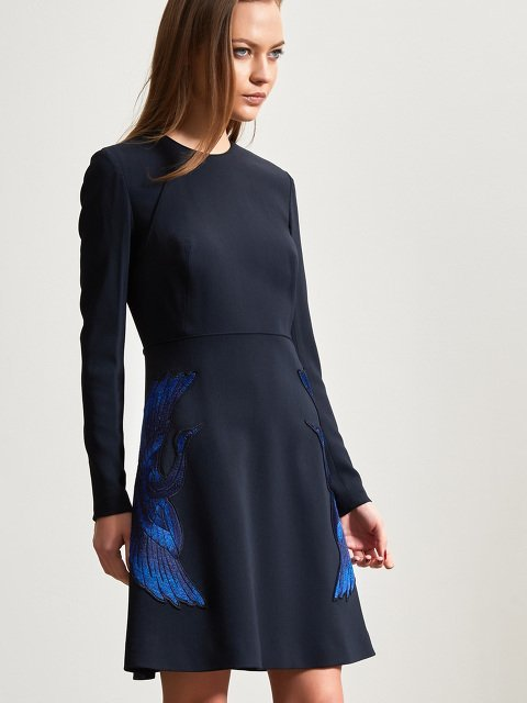 Wool Blend Dress with Crane Embroidery