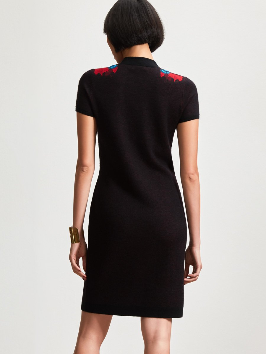 Cashmere Ginkgo Jacquard Hand Embroidery Dress
