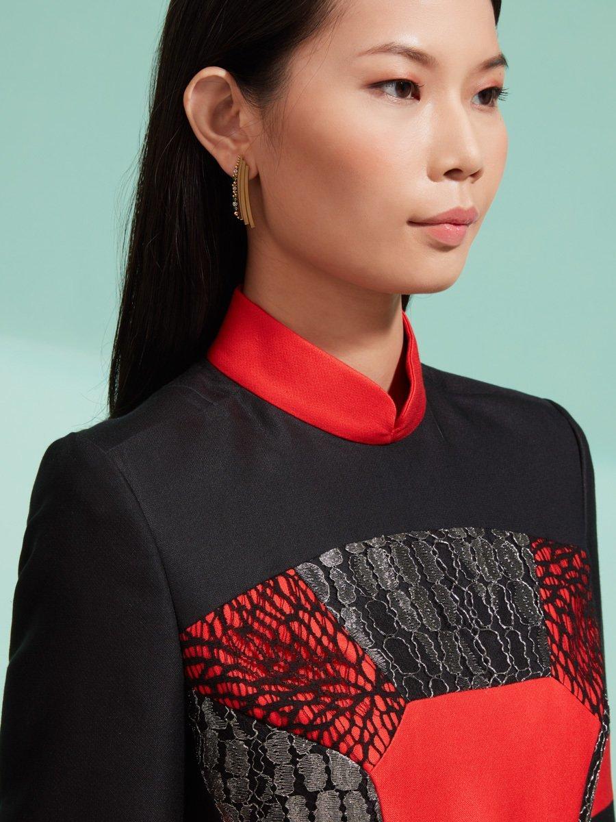 Patchwork Cotton-Silk Qipao Dress