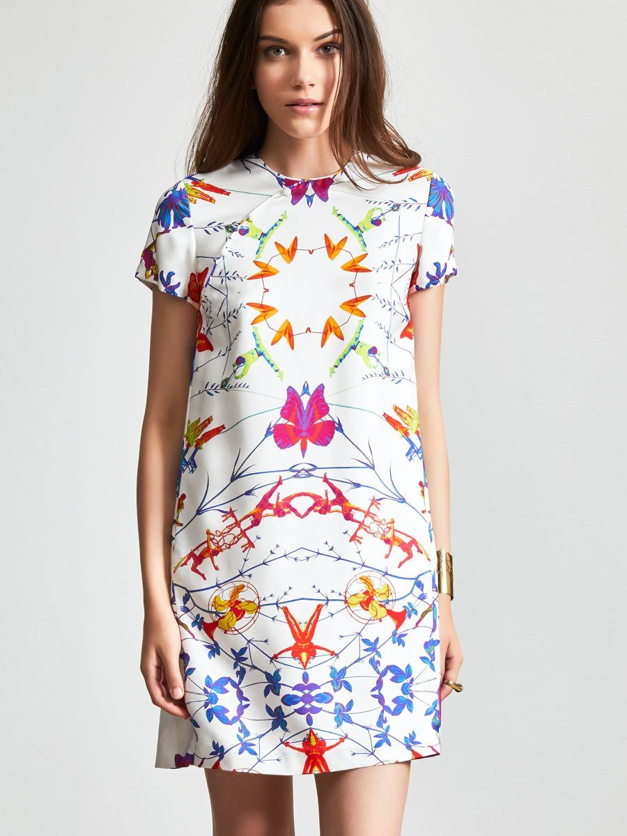 Prisma Mix Landscape Short Sleeve Mini Dress