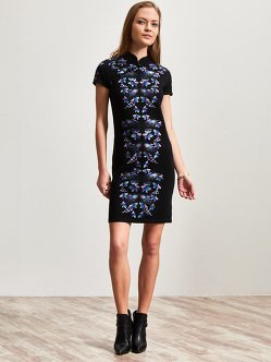 Wool Orchid Embroidery Qipao Dress