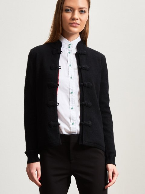 Cashmere Cardigan with Chinese Tales Silk Lining