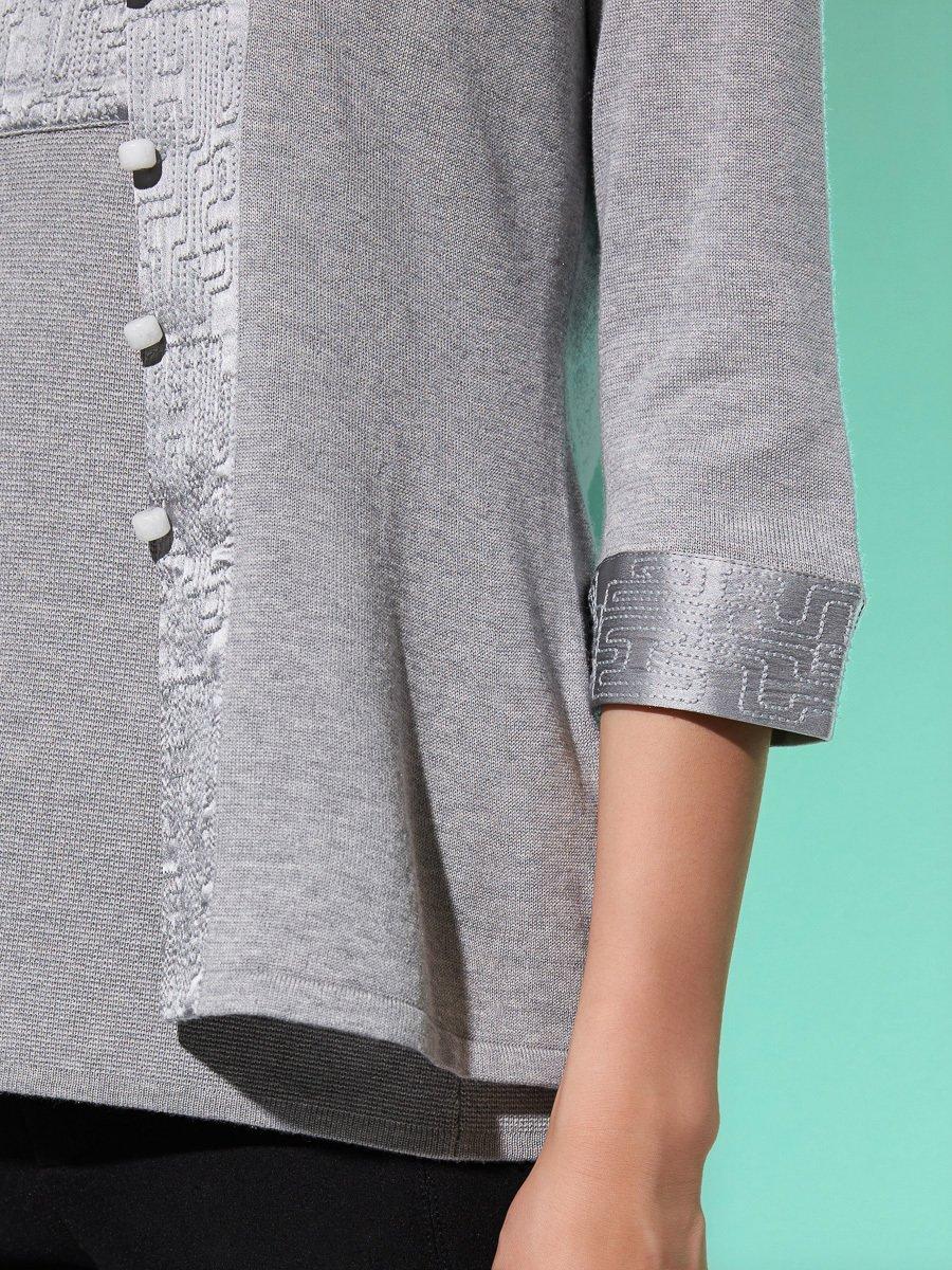 Silk-Cotton Satin Embroidery Trim 3/4 Sleeve Cardigan