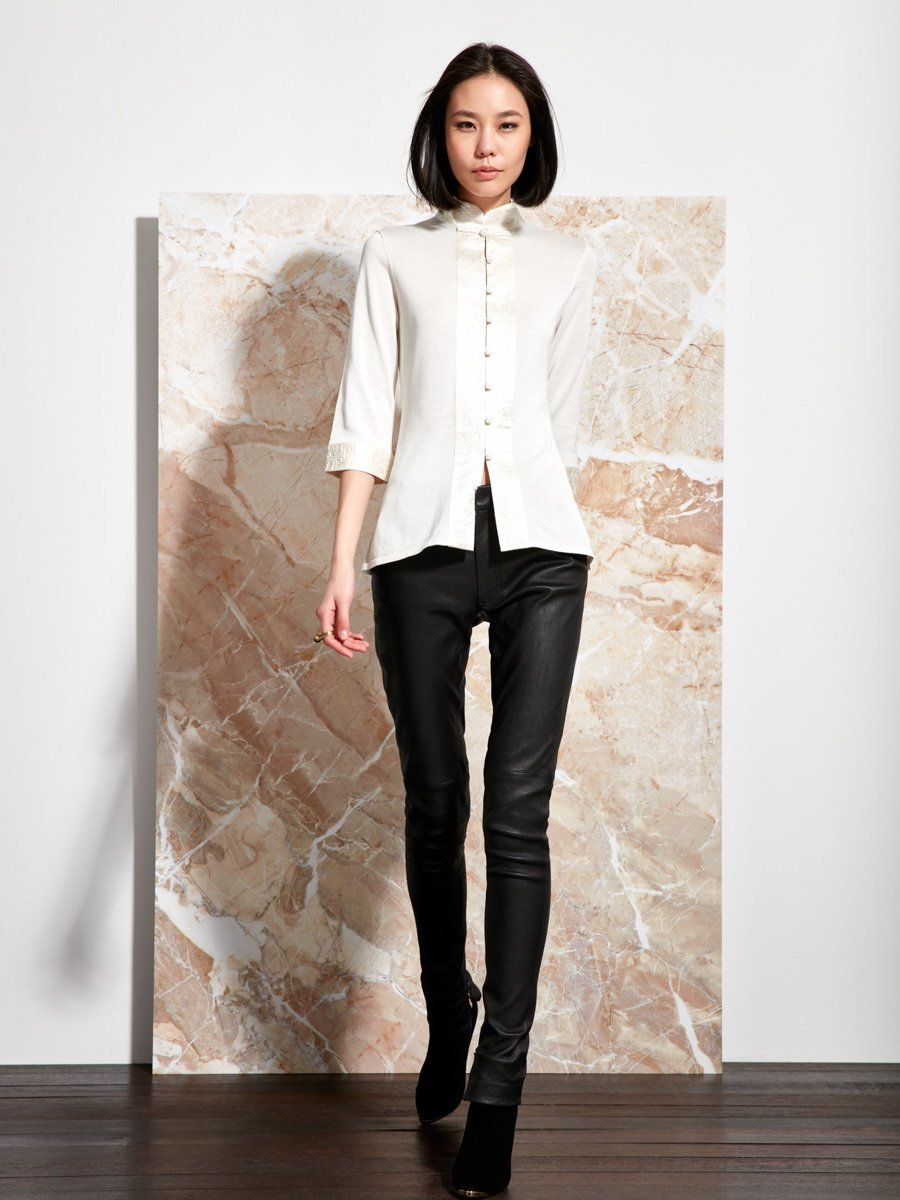 Silk-Cotton Satin Embroidery Cardigan