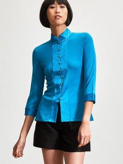 Silk-Cotton Woven Embroidery Trim 3/4 Sleeve Cardigan