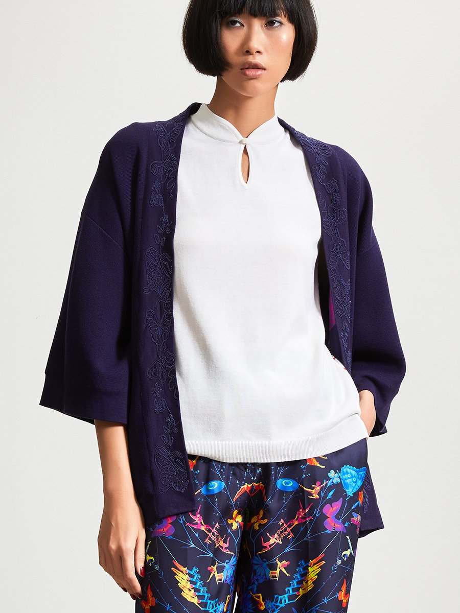 Silk-Cotton Butterfly Embroidery Lined Cardigan