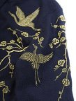 Cashmere-Silk 3D Crane Embroidery Cardigan