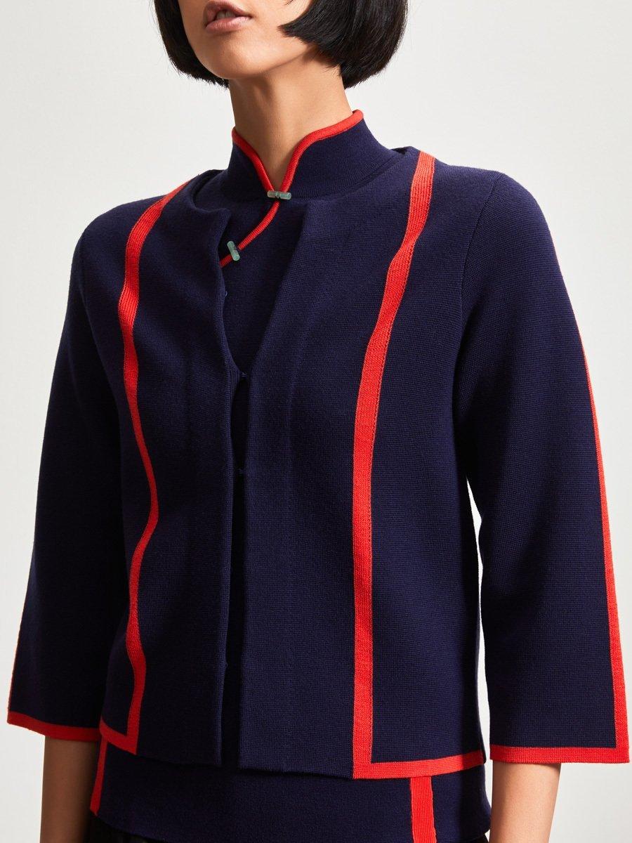 Wool Contrast Strap 3/4 Sleeve Cardigan