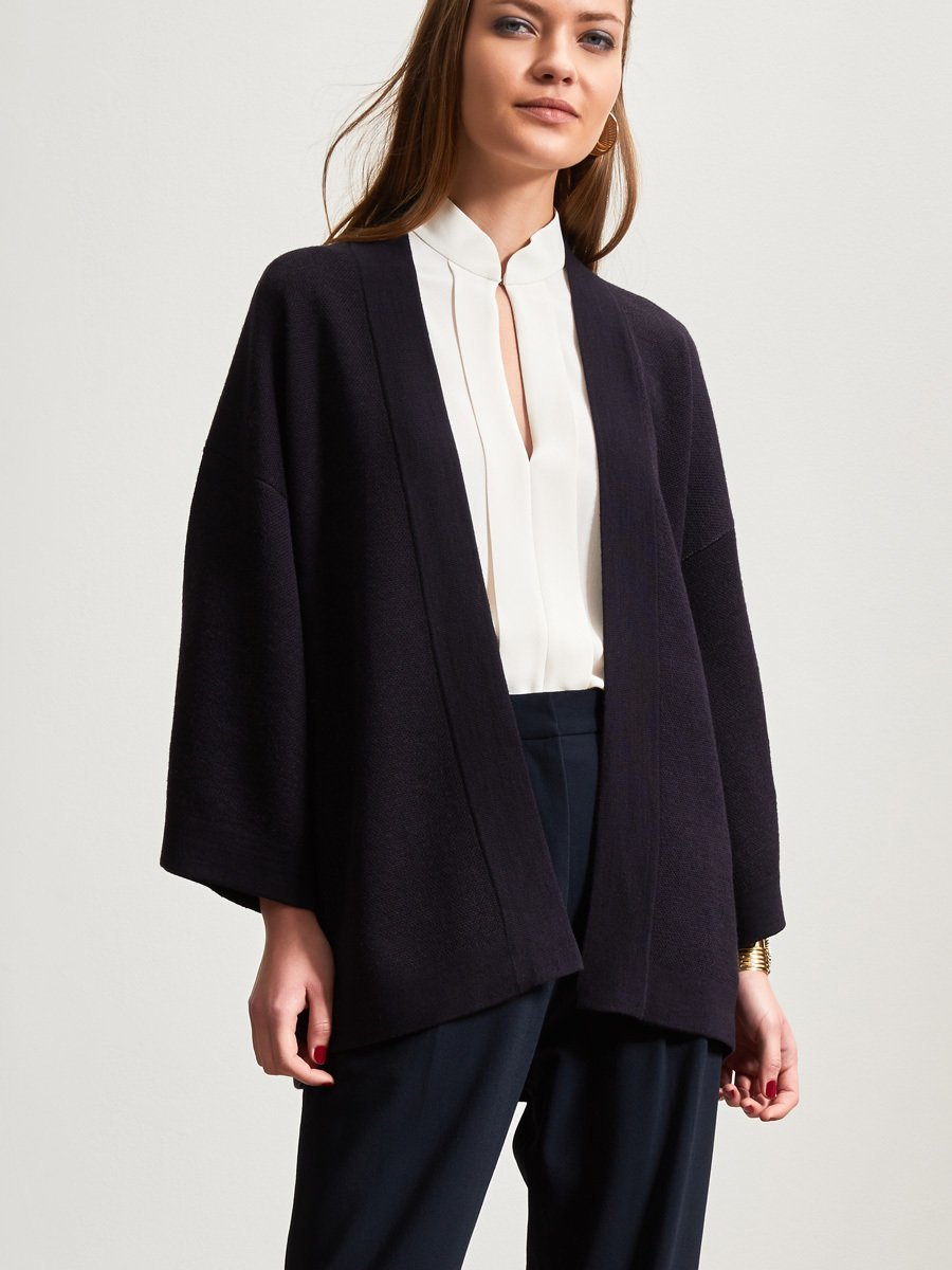 Wool Crane Jacquard Beaded Cardigan