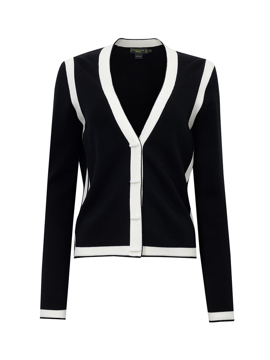 Wool Ottoman Cardigan with Contrast Trim
