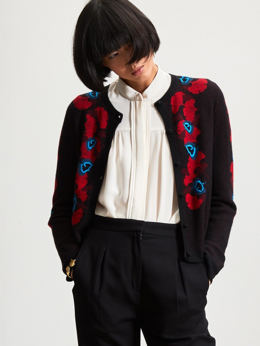 Cashmere Ginkgo Jacquard Hand Embroidery Cardigan
