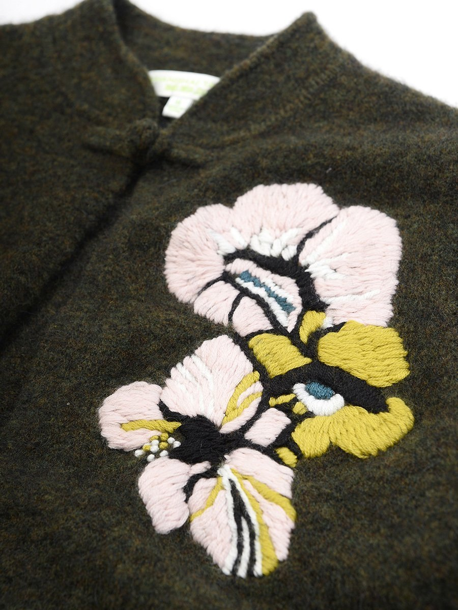 Alpaca-Wool Floral Hand Embroidery Cardigan