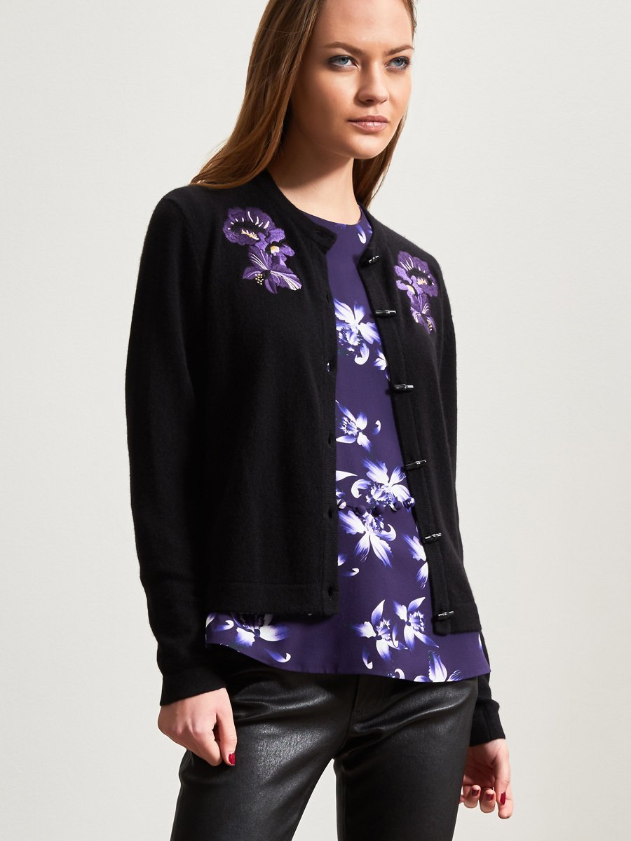 Cashmere Floral Embroidery Cardigan