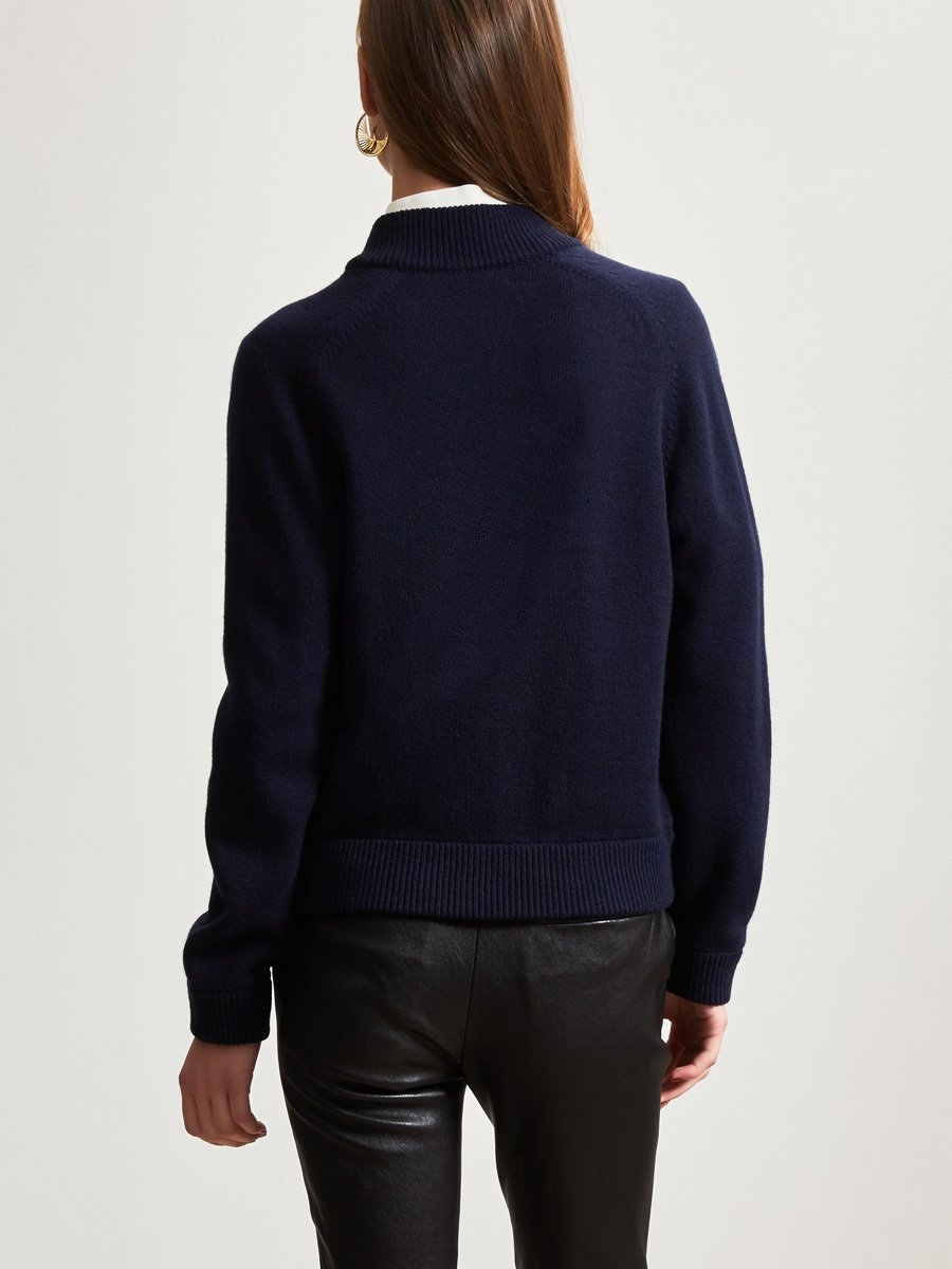 Cashmere-Silk Woven Panel Zip Cardigan